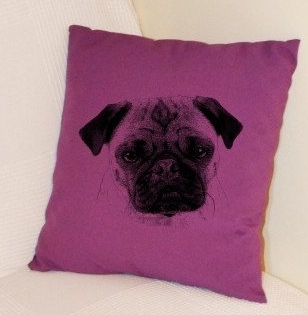 Pug Pillow Purple