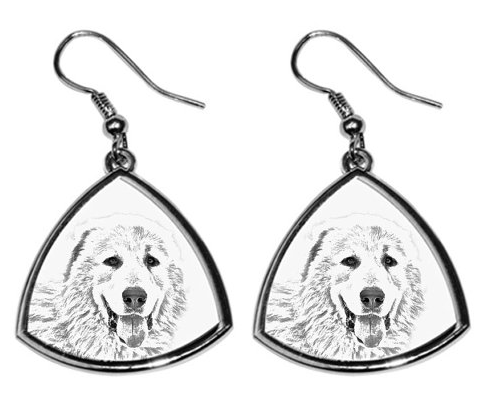 Pyrenean Mastiff Silver Plated Earrinngs