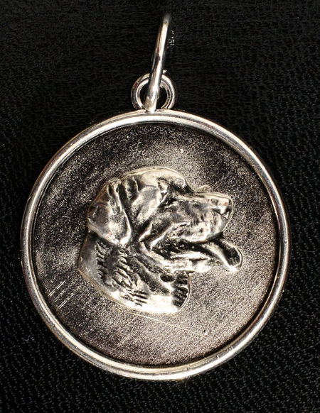 Rottweiler Silver Plated Round Pendant