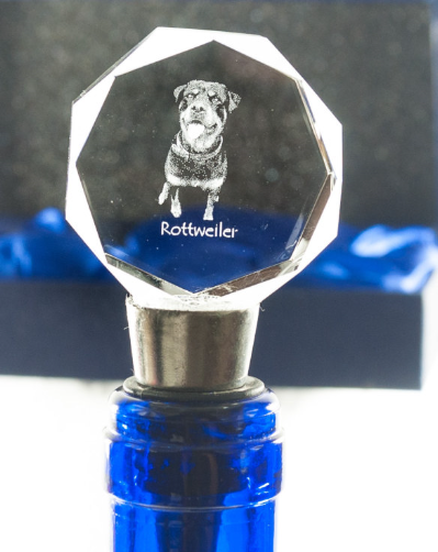 Rottweiler Crysral Wine Stopper
