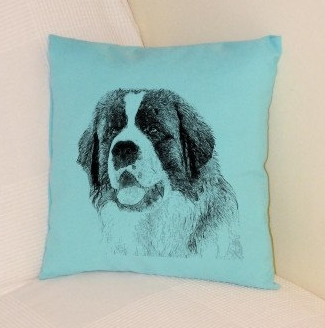 St Bernard Pillow Pale Blue