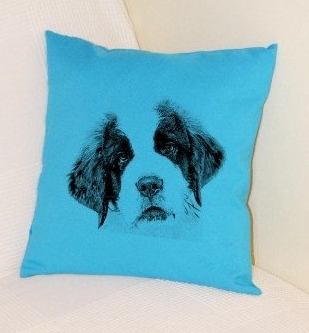 St Bernard Puppy Pillow Bright Blue