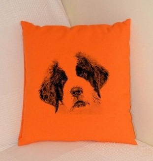 St Bernard Puppy Pillow Orange