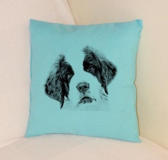 St Bernard Puppy Pillow Pale Blue