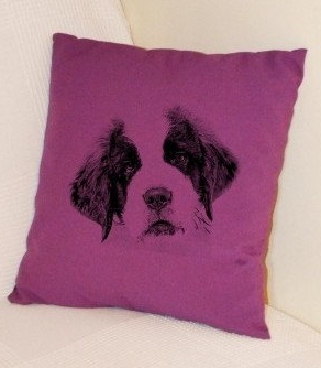 St Bernard Puppy Pillow Purple