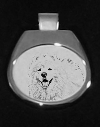 Samoyed Silver Plated White Pendant