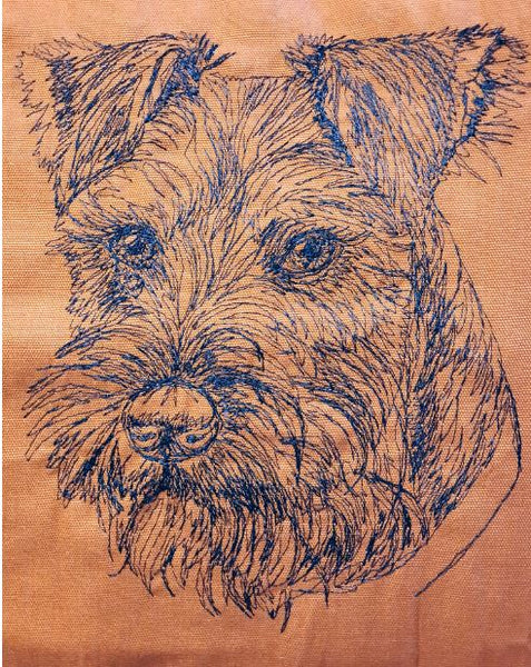 Schnauzer Rust Embroidered Cushion Cover