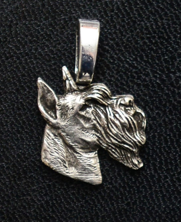 Schnauzer Ears Up  Silver Plated Mini Charm