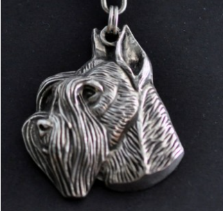 Schnauzer Silver Plated Key Chain Cropped Ears