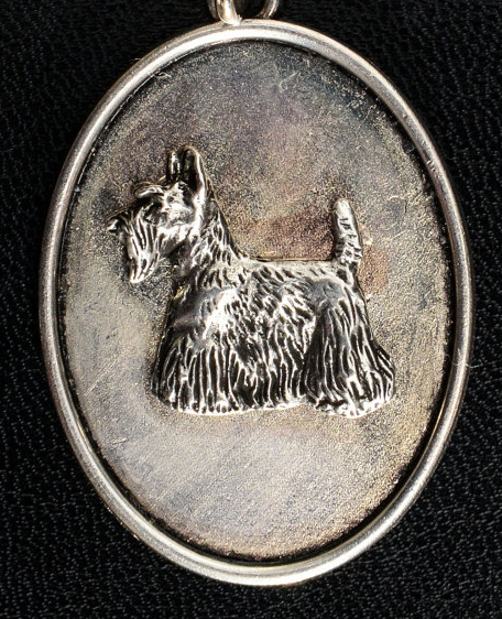 Scottish Terrier Silver Plated Oval Pendant