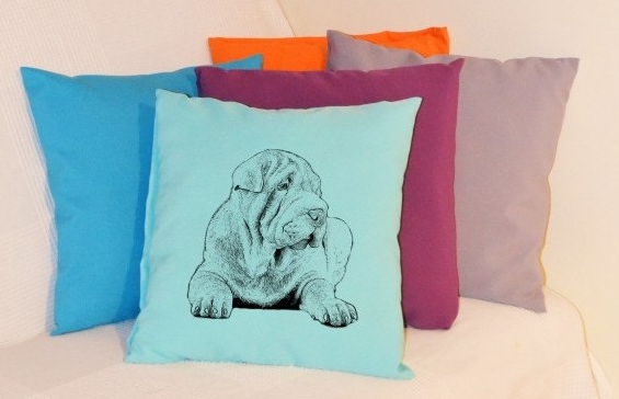 Shar-Pei Pillow Pale Blue