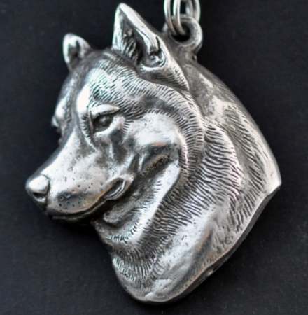Siberian Husky Silver Plated Key Chain