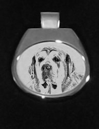 Spanish Mastiff White Silver Plated Pendant
