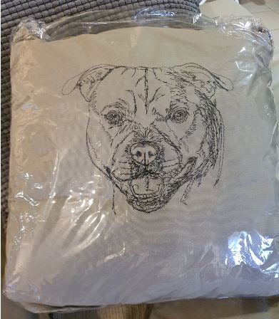 "Staffordshire ""Staffy"" Embroidered Taupe Cushion Cover"