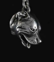Staffordshire Bull Terrier Staffy Silver Plated Key Chain