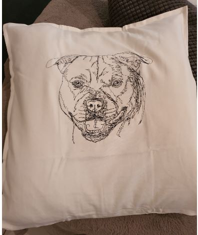 "Staffordshire ""Staffy"" Embroidered Cushion Cover"