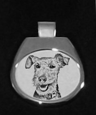 Welsh Terrier Silver Plated White Pendant