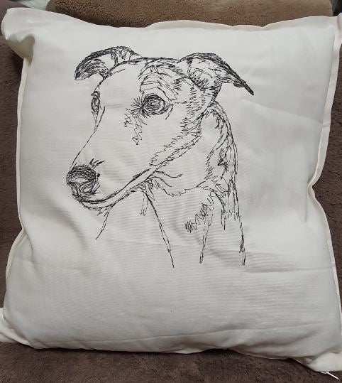 Whippet Embroidered Cream Cushion Cover