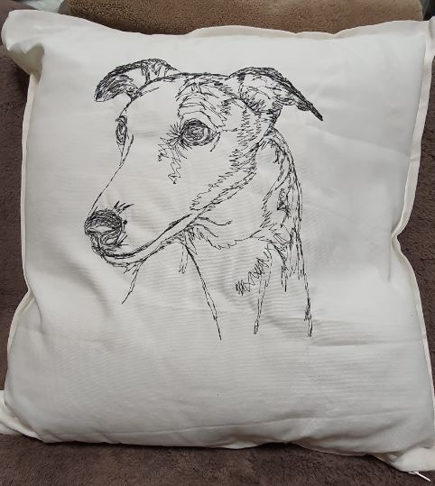 Greyhound Embroidered Cushion Cover
