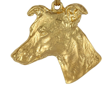Whippet Hard Gold Plated Pendant