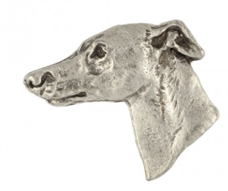 Whippet Silver Plated Lapel Pin