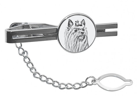 Yorkshire Terrier Silver Plated White Tie Clip