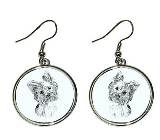 Yorkshire Terrier Show Silver Plated Earrings