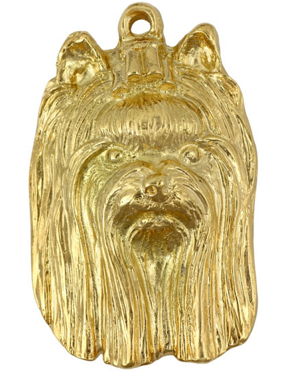 Yorkshire Terrier Show Hard Gold Plated Pendant