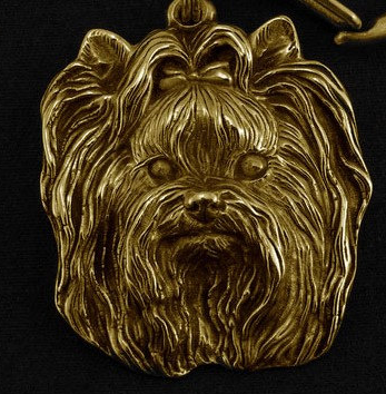 Yorkshire Terrier Hard Gold Plated Pendant