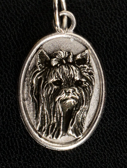Yorkshire Terrier Oval Silver Plated Pendant