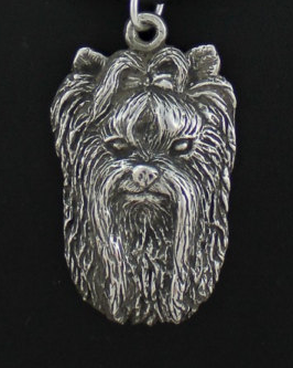 Yorkshire Terrier Show Silver Played Key Chain