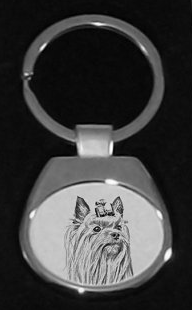 Yorkshire Terrier Silver Plated White Key Ring