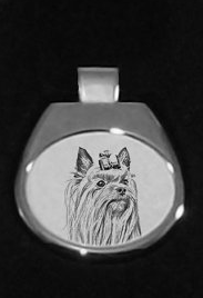 Yorkshire Terrier Silver Plated White Pendant