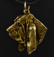 Basset Hound Hard Gold Plated Pendant