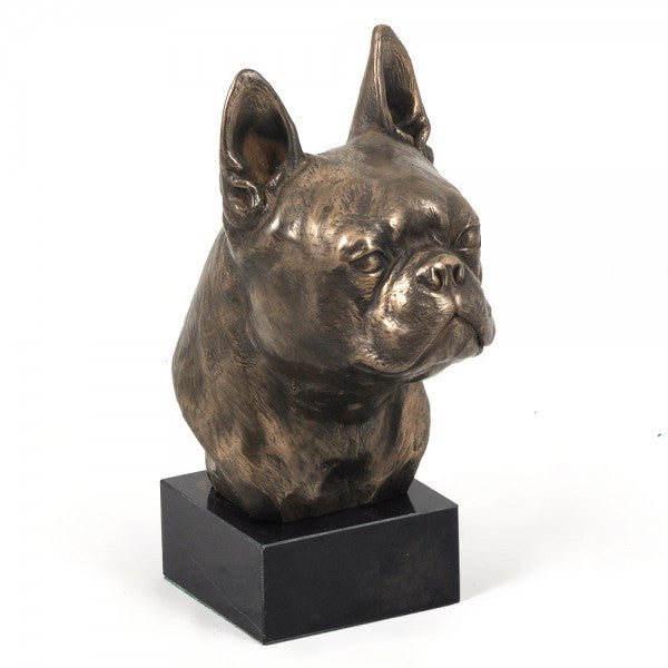 Boston Terrier Statue on Marble Base