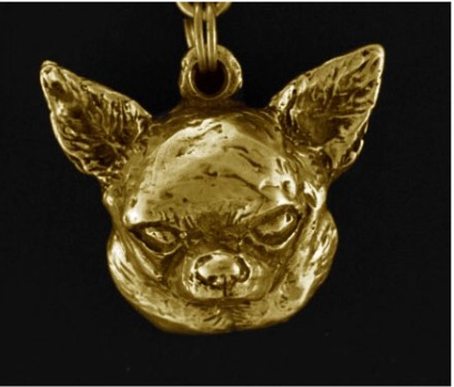 Chihuahua Smooth Hard Gold Plated Key Chain