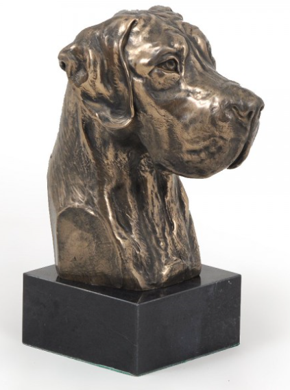 Great Dane Statue on Marble Base Natural Ears