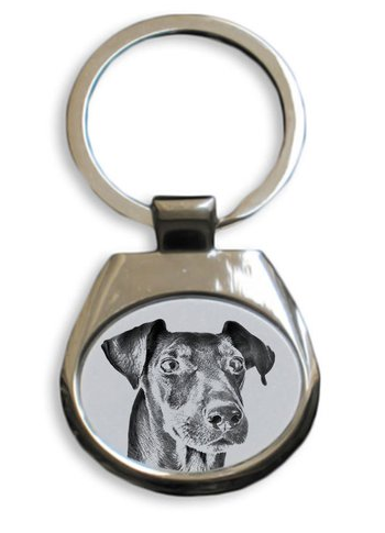 Manchester Terrier Silver Plated Key Ring