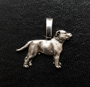 Staffordshire Bull Terrier Staffy Full Body Silver Plated Mini Charm