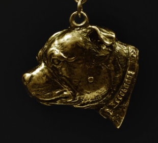 Staffordshire Bull Terrier Staffy Hard Gold Plated key Chain