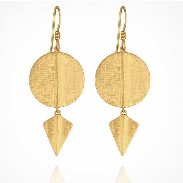 Temple Aegean Disc Earrings Gold