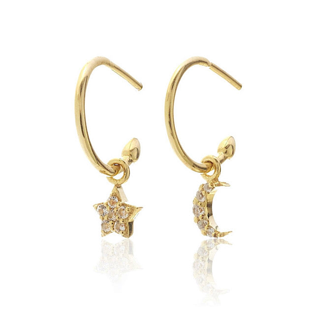 Superfine Celestial Hoops - Gold / White Topaz