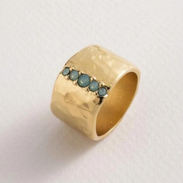 Danon - Wide Band Gold Ring with Line of crystals - Studio Matakana