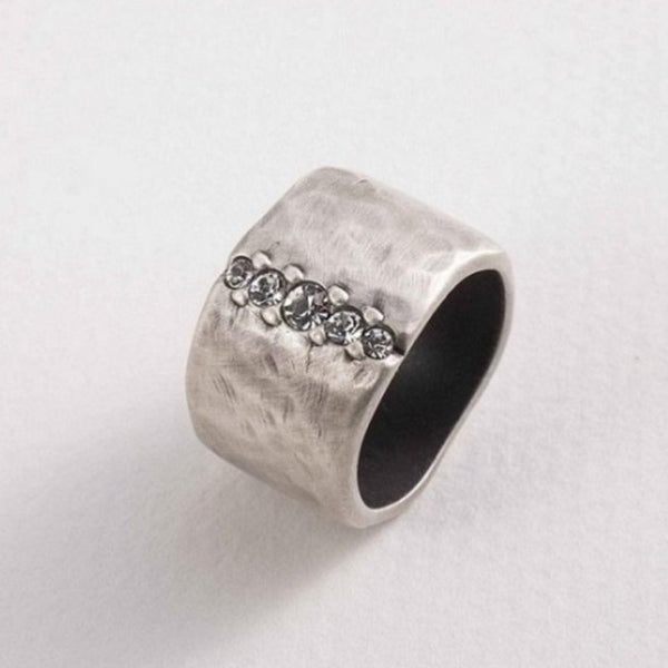 Danon - Wide Band Silver Ring with Line of crystals - Studio Matakana