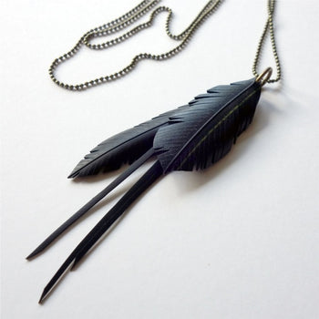 Up cycled large multi feather and frill necklace - Studio Matakana