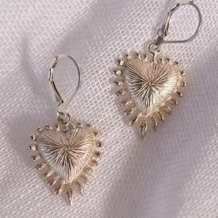 Zoe & Morgan Heart Rays Earrings  - Silver