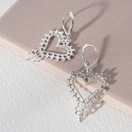 Zoe & Morgan - Gypsy heart earrings - silver - Studio Matakana