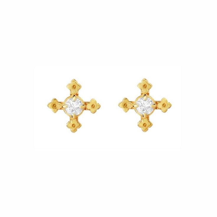 Zoe & Morgan - Izil Earrings - Gold/White Zircon - Studio Matakana