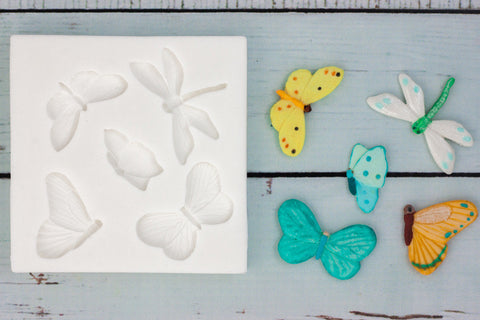 Butterflies & Dragonfly Silicone Mould - Ellam Sugarcraft Moulds For Fondant Or Chocolate