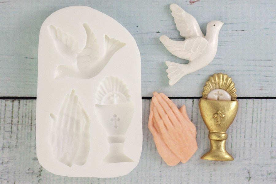 First Holy Communion mould- Chalice, Dove & Praying Hands Silicone Mould - Ellam Sugarcraft cupcake craft Moulds For Fondant Or Chocolate